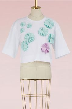 Paskal Cotton cropped flowers t-shirt