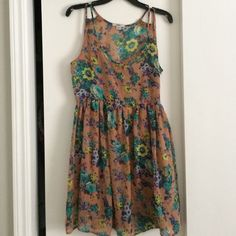 Bar III Pink Floral Summer/Spring Floral Dress Perfect floral spring or summer dress in excellent used condition.  Size M.  Fits like size 6 - 8.  No issues w/ the dress. Bar III Dresses Midi
