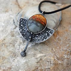 "Lunarium by Therapy | pendant with a picasso jasper cabochon; the half circle texture and ""ball pin"" rocks this!"