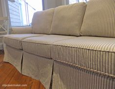 Custom Sofa Slipcover In Cotton Ticking Fabric. Love The Black And Grey  Stripe On Natural