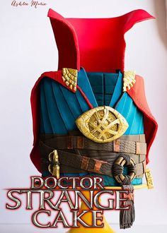 Check out this full tutorial for this fondant Doctor Strange Cake - everything is edible, the Eye of Agamotto, sling rings and the cloak of levitation - plus a fun surprise inside | Ashlee Marie | Disney | Doctor Strange | Party Cake | Cake Decorating | Marvel | #ashleemarie #doctorstrange #marvel #disney #partycake #cakedecorating