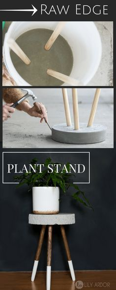 Raw Edge Concrete Plant Stand -- DIY --->> TUTORIAL https://emfurn.com/collections/mid-century-modern