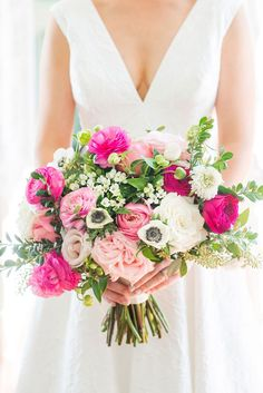 My must have bouquet! Mikkel Paige Photography pictures from a wedding at Merrimon-Wynne House in Raleigh, NC. Photo of the bride's colorful bouquet with light and hot pinks, white and greens created by Eclectic Sage. Hot Pink Bouquet, Prom Bouquet, Purple Bouquets, Flower Bouquets, Bouquet Wedding, Bridal Bouquets, Summer Wedding Bouquets, Bridesmaid Bouquets, Peonies Bouquet