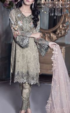 Buy Grey Embroidered Chiffon Dress by Maria B. 2016