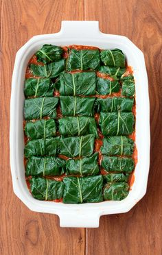 Collard Rolls in a Spicy Tomato Sauce