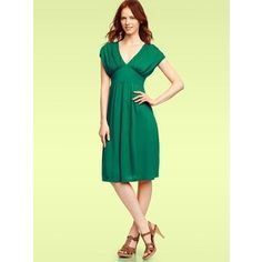 Gap Solid Gather Sleeve Dress (Varsity Green)
