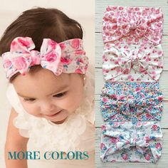 Trendy and stylish bows for babies, toddlers and girls. by ThinkPinkBows Diy Baby Headbands, Floral Headbands, Headband Baby, Baby Girl Bows, Girls Bows, Knot Headband, Head Wraps, Dress Up, Top Knot