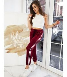 Bordové velúrové nohavice Mali Tommy Hilfiger, Harem Pants, Calvin Klein, Urban, Sport, Products, Fashion, Moda, Harem Trousers