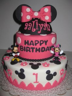 Mickey and Minnie Cake but w/ Red instead of pink