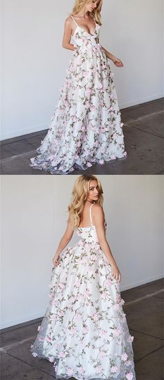 Spaghetti V-neck Floral A-line Prom Dresses, Unique Evening Gown, Long Prom Dresses, PD0322 #sofitbridal #promdresses #longpromdresses #fashion #florals