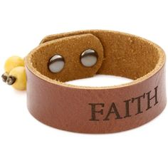 "Dillon Rogers ""Spiritual Bands"" Faith Brown Cuff Bracelet found on Polyvore"