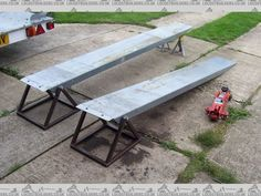 Ramp Stands by 907 -- Homemade ramp stands constructed from square tubing, sheemetal, and steel rods. http://www.homemadetools.net/homemade-ramp-stands