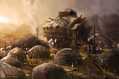 Hyrkanian Campsite concept art from the video game Age of Conan: Unchained by Ville-Valtteri Kinnunen Fantasy Town, 3d Fantasy, Fantasy Castle, Fantasy Places, Fantasy Setting, Fantasy Landscape, Medieval Fantasy, Fantasy Artwork, Fantasy World
