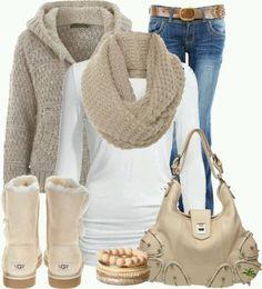 šal, majica, uggsice, pulover