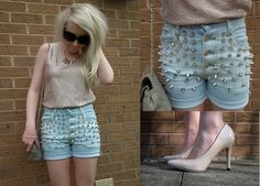 Topshop Peach Foil Top, Diy Bleached Studded Shorts, Select Nude Patent Court Shoes