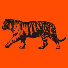 Tiger Orange and Black Silhouette Outline