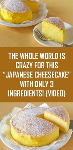 Weight Loss Diet Menu The Whole World is Crazy For This Japanese Cheesecake With Only 3 Ingredients!Weight Loss Diet Menu The Whole World is Crazy For This Japanese Cheesecake With Only 3 Ingredients! Asian Desserts, Easy Desserts, Delicious Desserts, Light Dessert Recipes, Awesome Desserts, Japanese Cheesecake Recipes, Cheesecake Desserts, Japanese Food Recipes, Japanese Desserts