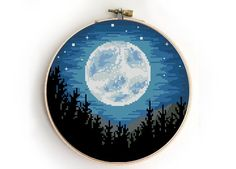Landscape with moon cross stitch galaxy trees camping nature modern starry abstact forest wild - Cross Stitch Pattern (Digital Format - PDF) : Landscape with moon cross stitch galaxy trees camping nature modern starry abstact forest wild - Cro Modern Cross Stitch Patterns, Counted Cross Stitch Patterns, Cross Stitch Designs, Cross Stitch Embroidery, Embroidery Patterns, Hand Embroidery, Loom Patterns, Cute Cross Stitch, Cross Stitch Samplers
