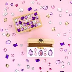 """You'll find dozens of ways to use these self-adhesive jewels! This Mega Jewel Shapes Assortment is a treasure trove full of shine and sparkle. Create crowns and stick this fun craft accessory onto your regal creation or fill a picture frame with a fun memory and attach these jewels on the frame for some added pizzazz! Plastic. (100 pcs. per unit) 1/2"""" - 1 1/4"""" Assortment may vary. These do it yourself wood craft jewelry boxes are twice the fun! Paint them with your favorite designs and…"""