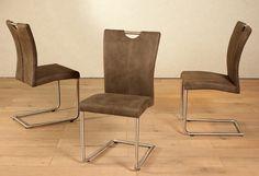 Schönes Design und sehr guter Sitzkomfort bieten gleich 2 Pluspunkte für diesen Stuhl. »Heike III« bietet relaxtes und bequemes Sitzen durch die hochwertige Nosagfederung. Das Gestell ist aus Edelstahl gefertigt. Der Bezug ist aus einer pflegeleichten Microfaser. Maße (B/T/H): 58/47/96 cm  Details:  Gestell aus Metall, Sitz und Rücken gepolstert, Sitz gepolstert, Rücken gepolstert, Bezug aus st...