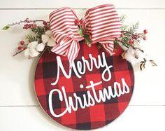 Christmas Wreath - Buffalo Plaid - Farmhouse - Buffalo Check - Door Hanger - Door Decor - Wall Decor - Christmas Ornament - Barnwood Finish