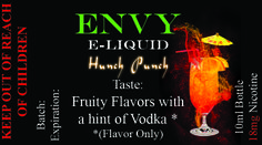 Envy Premium E liquid Collection Hunch Punch Sale! $4.95