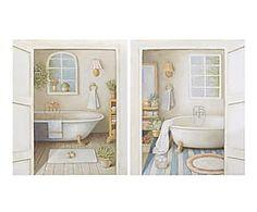 Set de 2 cuadros en madera DM Baño