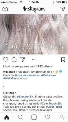Hair Color formulation Scenarios 986 364 Best Wella Colour formulas Images In 2019 Brunette Hair, Blonde Hair, Wella Toner, Hair Color 2017, Hair Color Formulas, Colored Hair Tips, Hair Color Techniques, Hair Color For Women, About Hair
