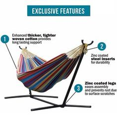 Vivere Double Cotton Hammock with Space Saving Steel Stand, Tropical lb Capacity - Premium Carry Bag Included)