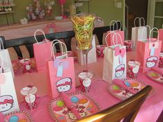 Decorated Table at a Hello Kitty Party #hellokittyparty #table