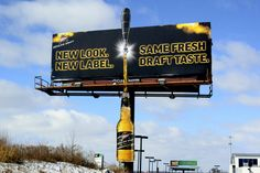 Miller: New Look. New Label. Same Fresh Draft Taste. Experiential Marketing, Guerilla Marketing, Good Advertisements, Ads, Bilboard Design, Funny Billboards, Outdoor Signs, Creative Advertising, Signage