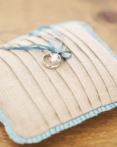 Ring Pillow How-To - I really love linen, but the edging would probably have to be a different color