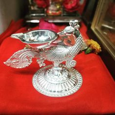 Silver Lamp, Silver Filigree, Antique Silver, Silver Jewellery Indian, Silver Jewelry, Silver Pooja Items, Pooja Room Door Design, Silver Ornaments, Silver Gifts