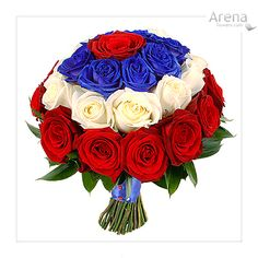 Red, White & Blue Wedding Bouquet (inspired by WW) Blue Wedding Dresses, Wedding Bouquets, Wedding Flowers, Red Flower Bouquet, Red Flowers, Wonder Woman Wedding, Superman Wedding, Marvel Wedding, Painting The Roses Red