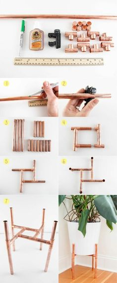 un beau objet pour décorer un coin du salon, porte-plante en tuyau cuivre