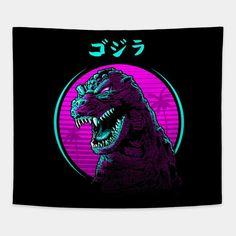 New Retro Wave, Retro Waves, Japanese Pop Art, Godzilla Wallpaper, Graphic Design Posters, T Rex, Oeuvre D'art, Les Oeuvres, Vector Art