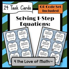 Included in this set are 24 task cards that ask students to solve 1-step equations, a student answer sheet, and an answer key.  These are all short answer task cards. One set of these task cards have QR codes on them. When scanned with a QR scanner (which can be downloaded onto smart phones, IPODS, IPADS, etc for free) students will see the correct answer.