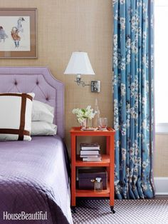 bedroom. prints, textures, colors. House Beautiful