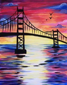 Learn To Paint Sunset Bridge III Tonight At Nite