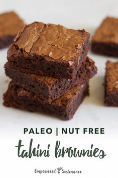 These Paleo Tahini Brownies are decadent and fudgy, the way brownies should be. Nut free and coconut free. Paleo recipes are gluten-free, grain-free, refined sugar free, and dairy free to reduce inflammation and improve wellbeing. #brownies #paleodessert Paleo Dessert, Paleo Sweets, Gluten Free Desserts, Healthy Desserts, Dessert Recipes, Healthy Eats, Chocolate Paleo, Chocolate Recipes, Chocolate Chips