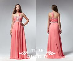 Coral pink one shoulder beaded empire waist by TulleandChantilly, $144.00