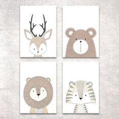 Bild Set Tiere Kunstdruck A4 Hirsch Bär Tiger Löwe Kinderzimmer Deko Geschenk in Möbel & Wohnen, Dekoration, Bilder & Drucke | eBay!