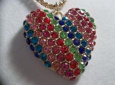 Betsey Johnson 60's Mod Rainbow Crystal Heart Pendant Necklace Betsey Johnson