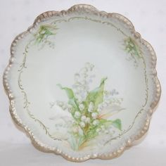 Floral China Bowls, Nippon, Germany, Bavaria Silesia Old Ivory, Lily of the Valley. Special Dinnerware, Old Plates, Love Lily, China Bowl, Painted Vases, China Painting, China Sets, Color Stories, Lily Of The Valley