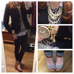 Instagram media by tweedandtoile - #ootd #ootdshare #ootdamerica #outfitshare #instafashion #fashiondiaries #stripes #stylediaries #prep #pearls #preppy #prepstyle #patternmix #preppystyle #leopard #leopardlove #jcrewstyle #jcrewaddict  Blazer/Sweater/Shirt/Necklace #jcrew  Jeans #oldnavy  Shoes #drscholls