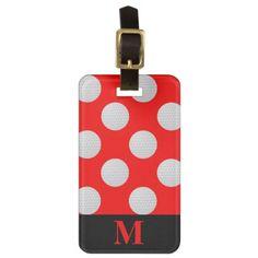 Monogram White Golf Balls Red Luggage Tag - monogram gifts unique design style monogrammed diy cyo customize