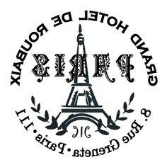 .Etiqueta postal Paris blanco y negro transfer..