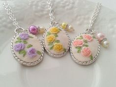 Items similar to Spring floral hand embroidered pendant necklace, bridesmaid gift. on Etsy Silk Ribbon Embroidery, Hand Embroidery Patterns, Embroidery Jewelry, Great Gifts For Women, No Photoshop, Sister Gifts, Bridesmaid Gifts, Crochet Earrings, Handmade Gifts