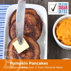 Pumpkin Pancakes - grain-free!When fall rolls around, it seems only natural to want to make as many recipes as possible that use pumpkin! This is a quick and easy way to take an inexpensive ingredient (canned pumpkin) and turn it into something delicious. #balancedbites #21dsd #pumpkinmuffins