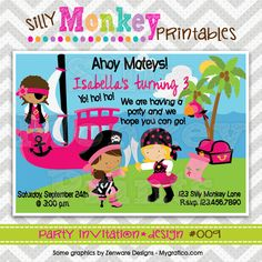 009: DIY - Ahoy Matey Girl Pirate Party Invitation Or Thank You Card. $12.95, via Etsy.
